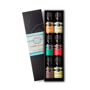 P&J Trading Summer Set of 6 Premium Grade  Fragrance Oils - Peach, Ocean Breeze, Plumeria, Coconut, Strawberry, Pina Colada