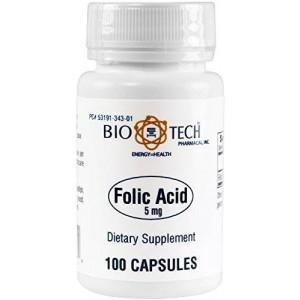 Bio-Tech Pharmacal BioTech Pharmacal - Folic Acid (5mg) - 100 Count