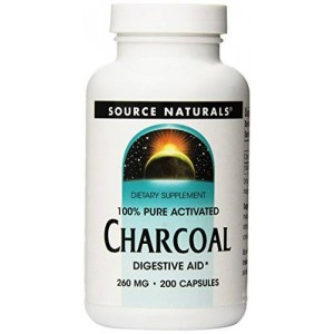 Source Naturals 100% Pure Activated Charcoal 260mg, 200 Capsules