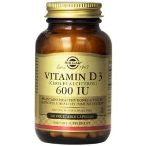 Solgar Vitamin D3 Cholecalciferol 600 IU Vegetable Capsules, 120 Count