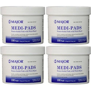 Medi-Pads Maximum Strength With Witch Hazel Hemorrhoidal Hygienic Cleansing Pads 100 Ct Jar Compare to Tucks Pack of 4 Jars Total 400 Pads (4)