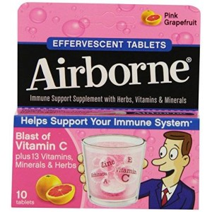Airborne Effervescent Immune Support Supplement, Pink Graprefruit, 10-Count Tube (Pack of 6)