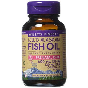 Wiley's Finest - Wild Alaskan Fish Oil: Prenatal DHA 600mg DHA - Omega 3 Supplement - 60 Softgels