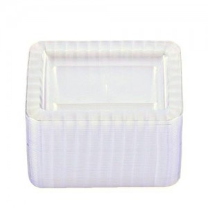 Party Essentials Deluxe Quality Hard Plastic 70 Count Rectangular Appetizer/Dessert Plates, 5 by 7-Inch, Clear