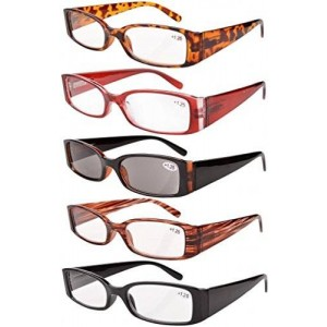 Eyekepper Spring Hinge Plastic Reading Glasses (5 Pairs) Includes Sunglass Readers +1.50