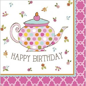 Creative Converting Tea Time Luncheon Napkin Happy Birthday (16) Party Supplies