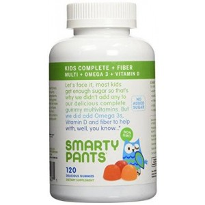 SmartyPants Kids Fiber Complete with No Sugar Added, Multi plus Omega 3 plus Vitamin D, 240 Count