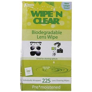 Flents Wipe n Clear Biodegradable Lens Wipes, 225 Count