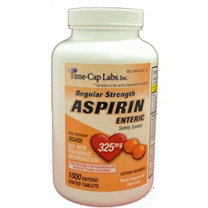 Time Cap Labs Aspirin Adult Regular Strenght Enteric Coated 325 mg Generic for Ecotrin Bayer Aspirin 1000 Tablets Per Bottle