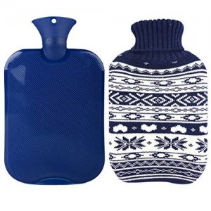 HomeTop Premium Classic Transparent Hot Water Bottle w/ Cute Knit Cover (2L, Navy / Snowflake)