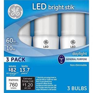 GE LED Bright Stik 60W Equivalent Daylight (5000K) General Purpose LED Light Bulb