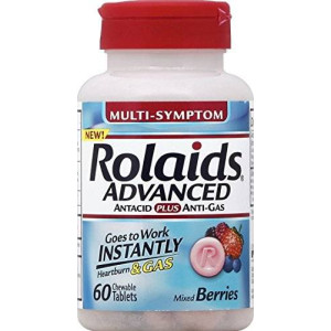Rolaids Advanced Antacid Plus Anti Gas Tablets Mixed Berry, 60 Count