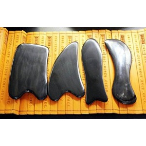 Acupress Genuine Natural Black Buffalo Horn GuaSha Scraping Massage Tools Set of 4 for Graston SPA Acupuncture Therapy Trigger Point Treatment