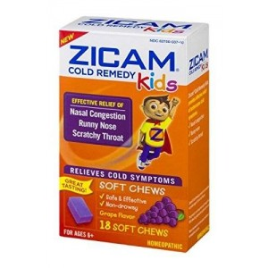 Zicam Cold Remedy Kids Soft Chews Grape Flavor - 18 Ct Two Pack