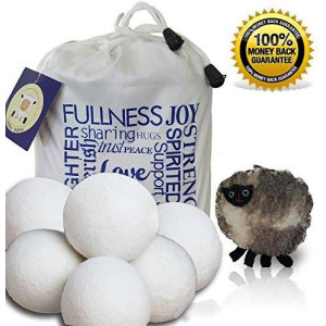 lullababy Wool Dryer Balls 6-pack XL Handmade with Premium 100% Organic New Zealand Wool with Inspirational Carrying Bag and Free Sheep Coin Purse