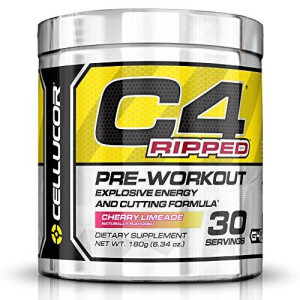 Cellucor C4 Ripped Preworkout Thermogenic Fat Burner Powder, Preworkout Energy, Weight Loss, 30 Servings, Cherry Limeade
