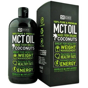 Sports Research Premium MCT Oil made from ONLY Organic Coconuts (32oz BPA-free bottle); Packed with Healthy Fats for Sustained Energy ; Odorless