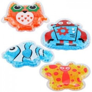Four Kids' Reusable Animal Shaped Cold Packs: Blue Fish, Yellow Butterfly, Blue Robot, and Orange Owl By Assured (Kids 3+)