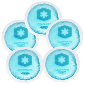Round Reusable Small Gel Ice Packs, Microwavable Hot Packs, Boo boo First Aid Hot Cold Packs by IceWraps (5 Pack, Blue)