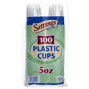 Settings 5oz Plastic Disposable Cups 100 Count
