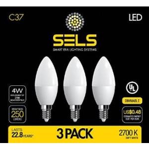 SELS C37 Dimmable Candelabra Led Light Bulb 4 Watts 250 Lumens 25 Watt Incandescent Chandelier bulb Equivalent Softwhite