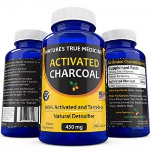 Natures True Medicine Best Activated Charcoal Capsules (450 Mg Supplement) -Detox Naturally and Safely. Reduce gas