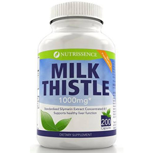 Nutrissence Milk Thistle 1000mg Equivalent - 200 Capsules - 250mg of Quadruple Strength, 4X Concentrated Standardized Silymarin Extract
