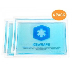 """4 Reusable Hot or Cold Ice Packs 5""""x7"""" Microwavable Gel Packs Ideal for First Aid Pain Relief By IceWraps (4 Pack, Blue)"""