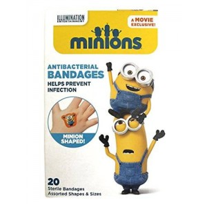 We The Planet Adorable Despicable Me Shaped Adhesive Bandages (20 ct) For Kids Featuring Minions | Latex Free