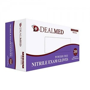 dealmed Nitrile Exam Gloves, Powder Free, 200/bx ... (Medium)