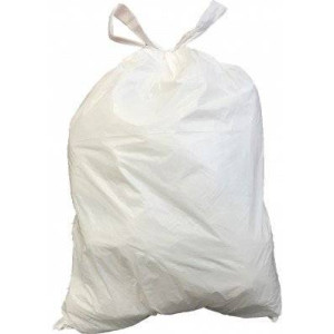 PlasticPlace 4-6 Gallon Drawstring Bags - White - 200/Case