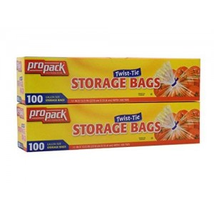Propacp Propack Storage Bags, Original Twist-tie, Gallon Size 100 Bags (Total of 200)
