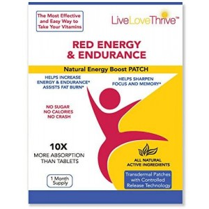 LLT Red Energy and Endurance Patch - Natural Energy - USA Made - 30 Patches