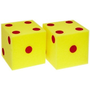 School Specialty Giant Foam Dice - 5 inches - Set of 2 - Yellow with Red