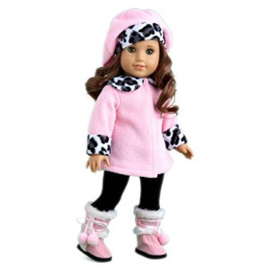 DreamWorld Collections Elegance - Pink fleece coat, matching hat, brown pants and sherpa boots - American Girl Doll Clothes
