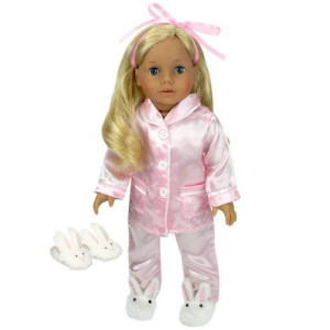 Sophia's 3 Pc. Doll Clothing PJ's Set Fits American Girl Dolls, 2 Pc. Pink Satin Doll Pajamas and Doll Slippers