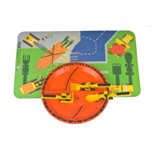 Constructive Eating Set of 3 Construction Utensils, Construction Plate and Construction Worksite Placemat