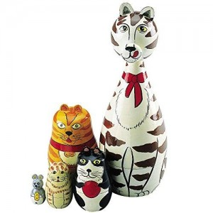 Bits and Pieces Wooden Russian Nesting Dolls Cat Figurines-Matryoshka Doll Animal Figurines-Stacking Dolls Set of 5