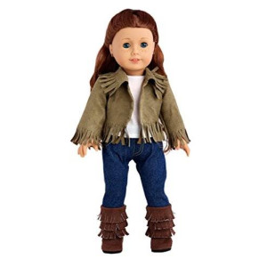 DreamWorld Collections Siege Jacket - 4 piece outfit includes jacket, tank top, skinny jeans and boots - American Girl Doll Clothes