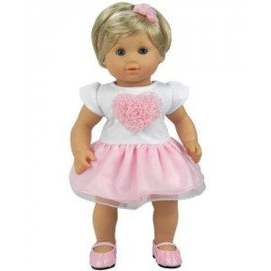15 Inch Baby Doll Clothing 2 Pc. Set by Sophia's of Detailed Pink Heart Top