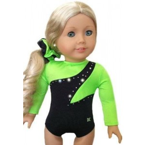 Doll Connections NEW 2 Item Bundle - NEON GREEN GYMNASTICS DANCE LEOTARD SET - Fits American Girl 18 inch Doll - Doll Clothes Lot