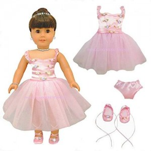 Doll Connections NEW 3 ITEM BUNDLE - PINK RIBBONS AND ROSES BALLET BALLERINA DANCE SET - Fits American Girl Doll Clothes Lot