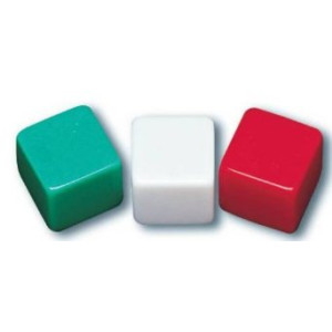 """School Smart 089919 Blank Dice with Adhesive Labels, 1/2"""" x 1/2"""", Green, White and Red (Pack of 36)"""
