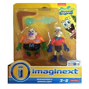 Imaginext, SpongeBob Square Pants Exclusive Figures, Mermaidman and Barnacleboy, 2-Pack