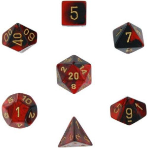Chessex Manufacturing Polyhedral 7-Die Gemini Dice Set: Black and Red with Gold (d4, d6, d8, d10, d12, d20 and d00) CHX-26433