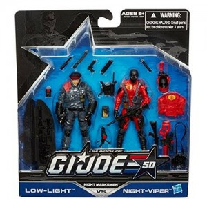 GI Joe Real American Hero G.I. Joe, 50th Anniversary, Night Marksmen Exclusive Action Figure Set [Low Light vs. Night-Viper], 3.75 Inches