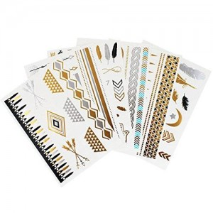 channelSMART Flash Temporary Metallic Tattoos - Gold and Silver Jewelry Designs - 6 Sheets Pack