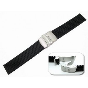 JP Leatherworks Mens Rubbertech (TM) Silicone Rubber Watchband Stainless Steel Deployment Buckle - by JP Leatherwo