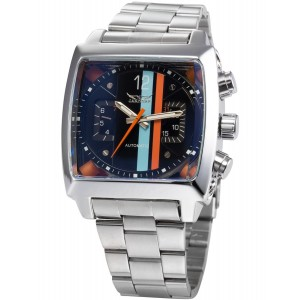 AMPM24 Mens Mechanical Oblong Date Day Sport Black Dial Stainless Steel Wrist Watch PMW047