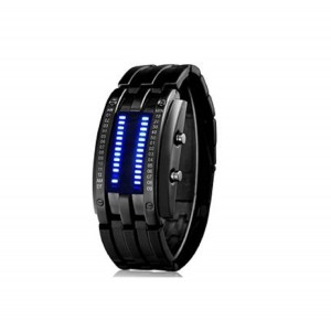 Skmei 9026 Water Resistant LED Sports Watch with Pleated IP Strap (Black)